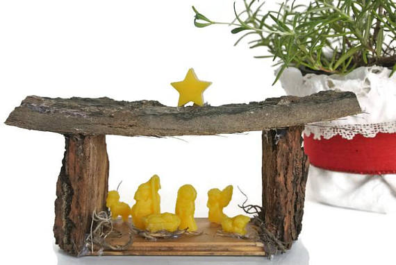 Lovely miniature nativity made from tree bark and beeswax